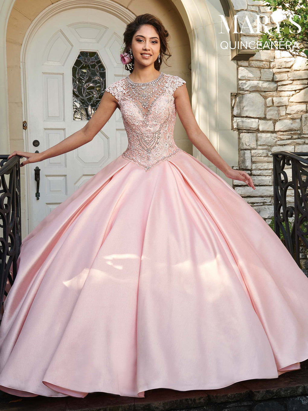 Marys Quinceanera Dresses in Blush, Emerald, Ivory, or White Color