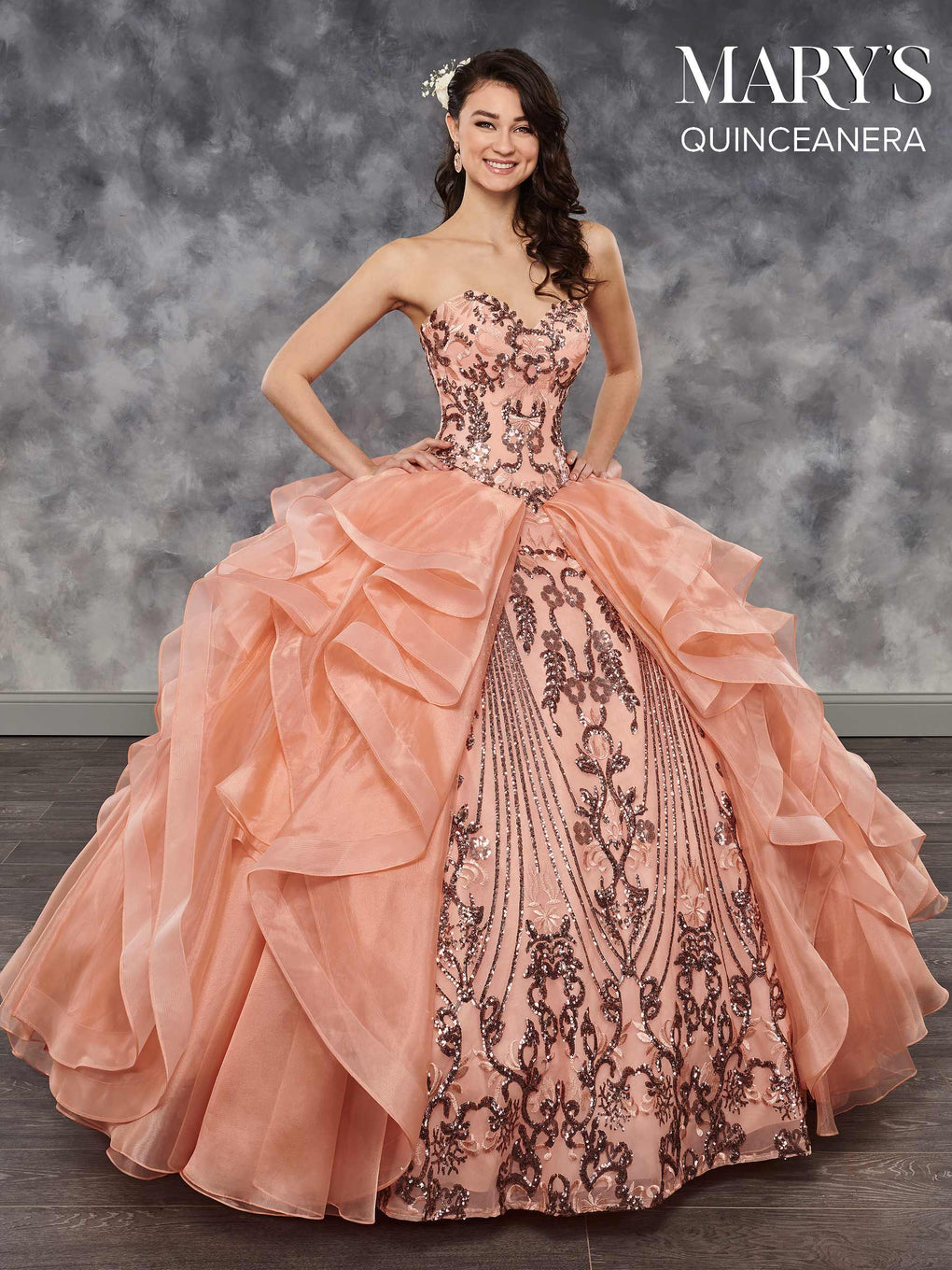 Marys Quinceanera Dresses in Marsala, Peach, or White Color
