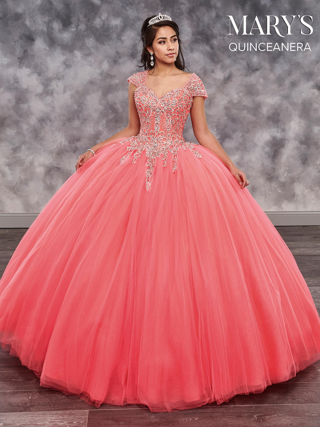 Marys Quinceanera Dresses in Hot Coral, Lilac, or White Color