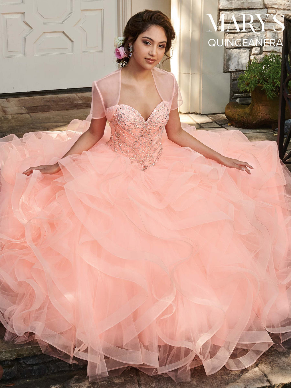 Marys Quinceanera Dresses in Bright Peach, Purple, or White Color