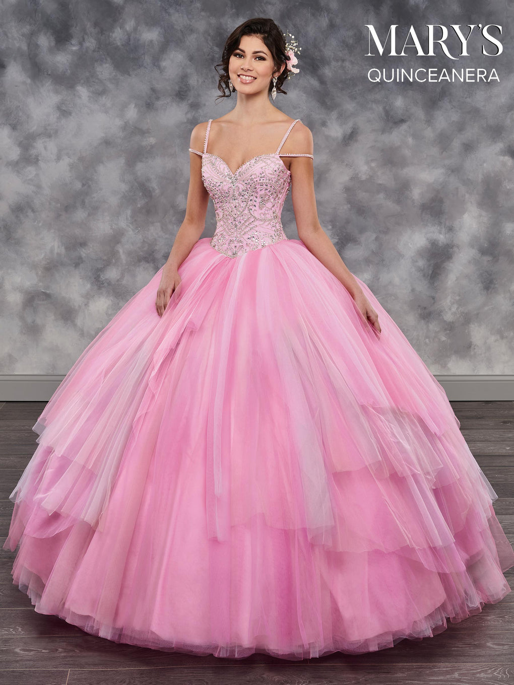 Marys Quinceanera Dresses in Cotton Candy, Rose Petal, or White Color