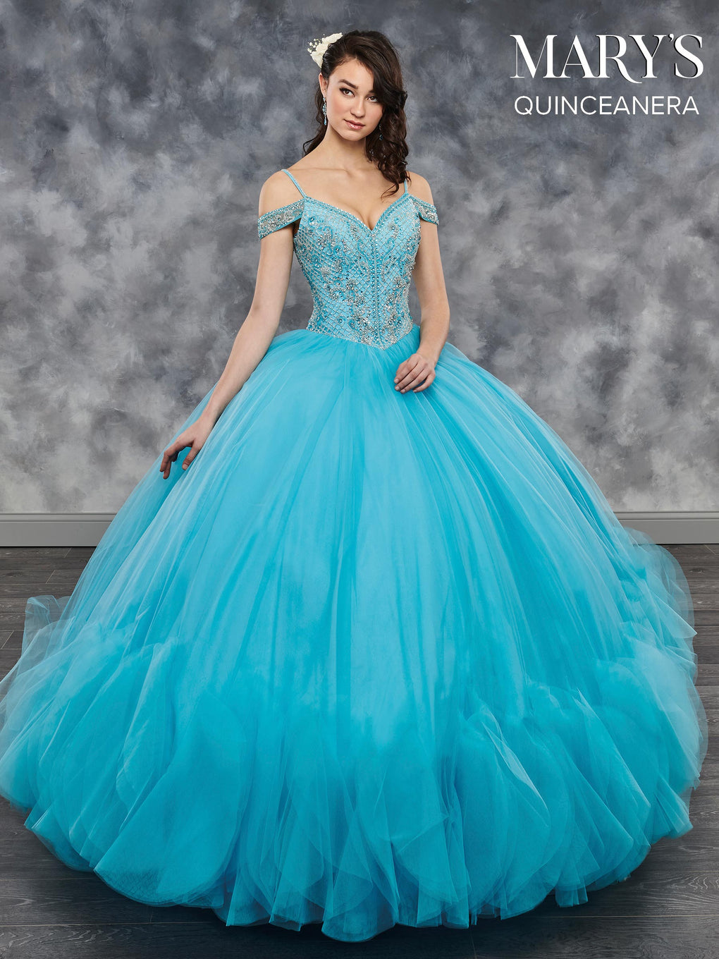 Marys Quinceanera Dresses in Champagne, Hot Fuchsia, Soft Turquoise, or White Color