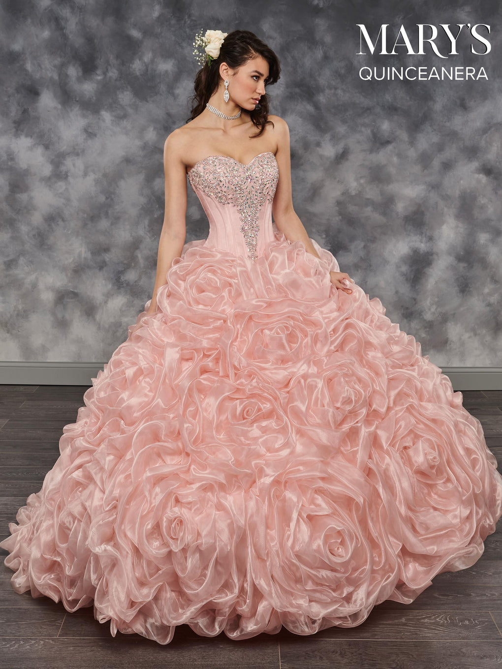 Marys Quinceanera Dresses in Deep Blush, Red, or White Color