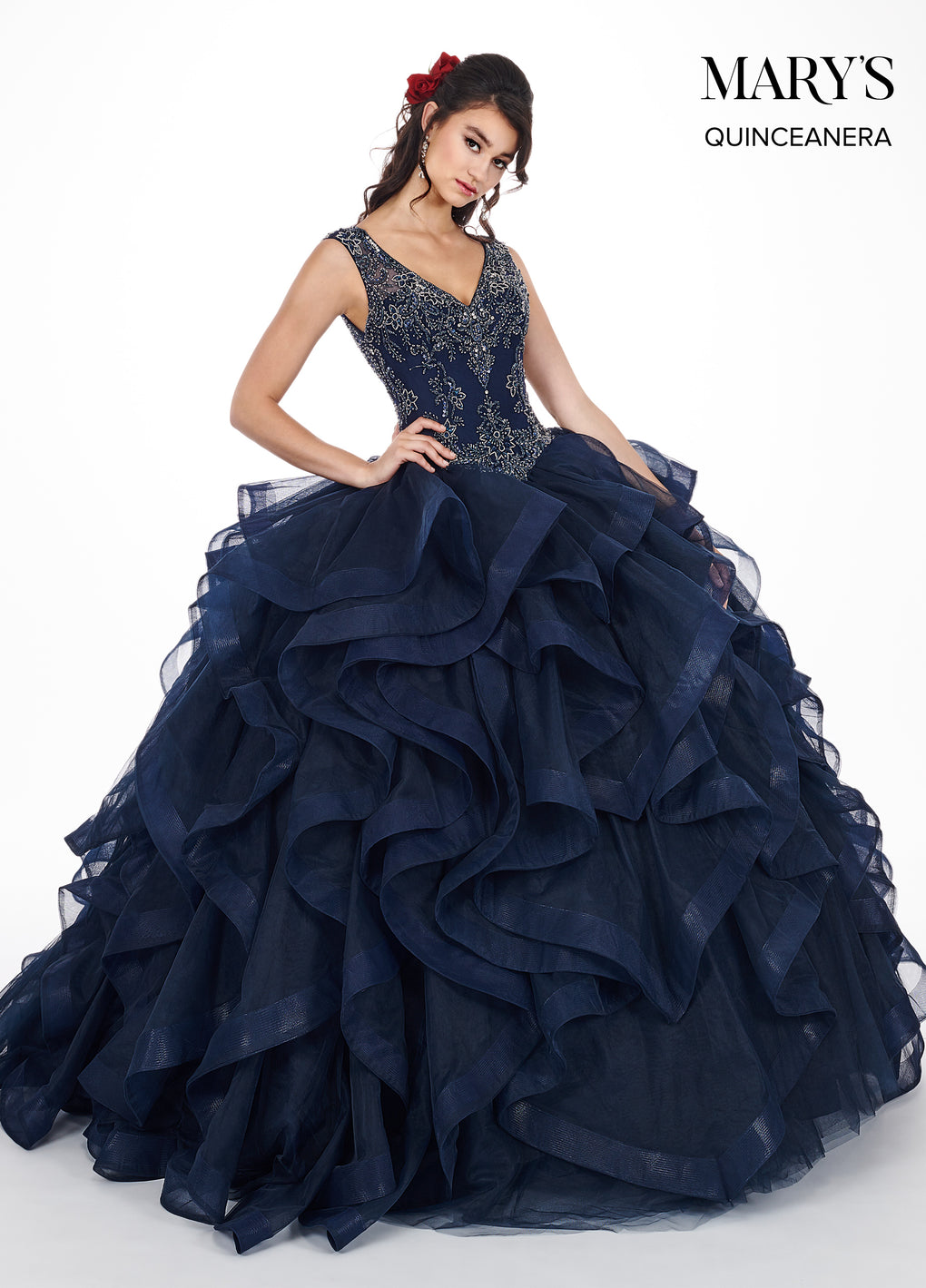 Marys Quinceanera Dresses in Aqua, Midnight Blue, or Blush Color
