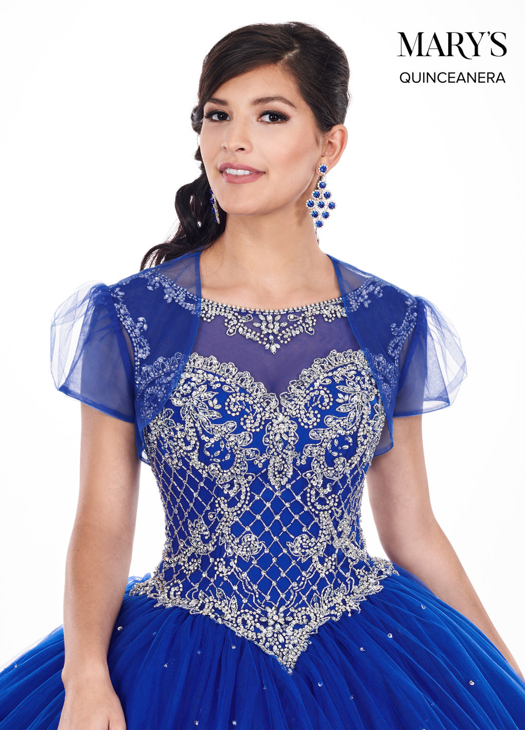 Marys Quinceanera Dresses in Royal/Silver or Peach/Rose Gold Color
