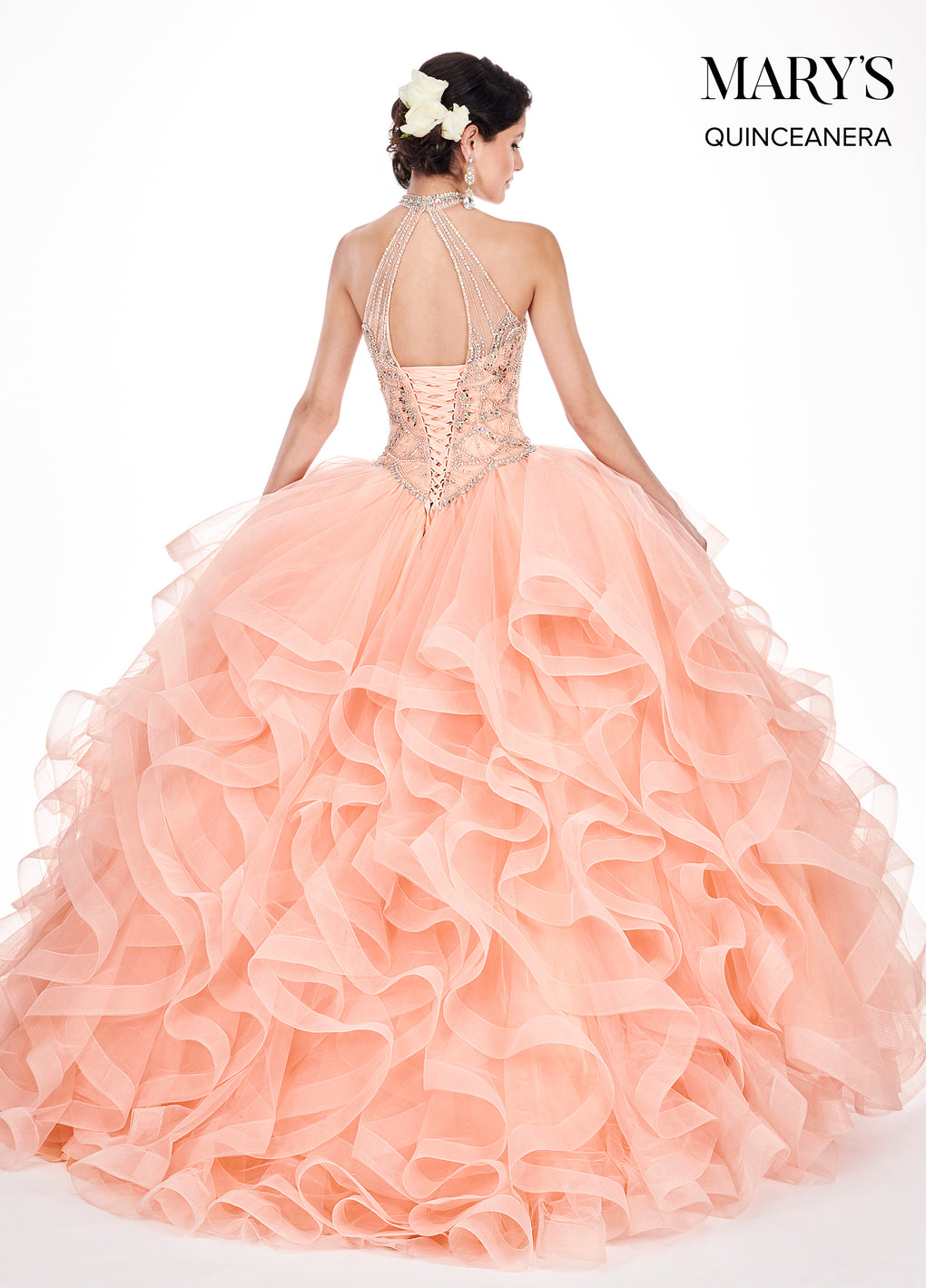 Marys Quinceanera Dresses in Peach, Midnight Blue , or Red Color