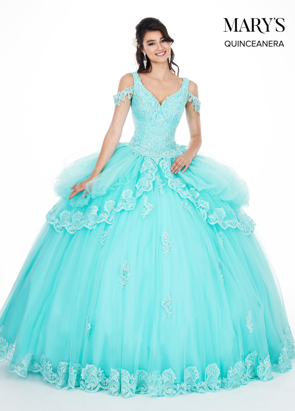 Marys Quinceanera Dresses in Aqua, Blush, or Yellow Color