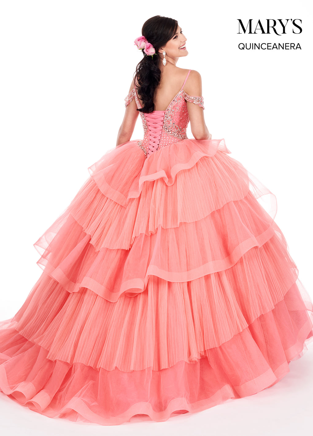 Marys Quinceanera Dresses in Watermelon, Periwinkle, or Mint Color