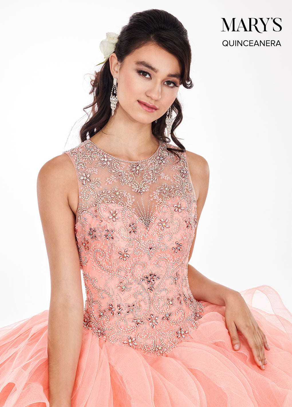 Marys Quinceanera Dresses in Champagne, Peach, Navy Color