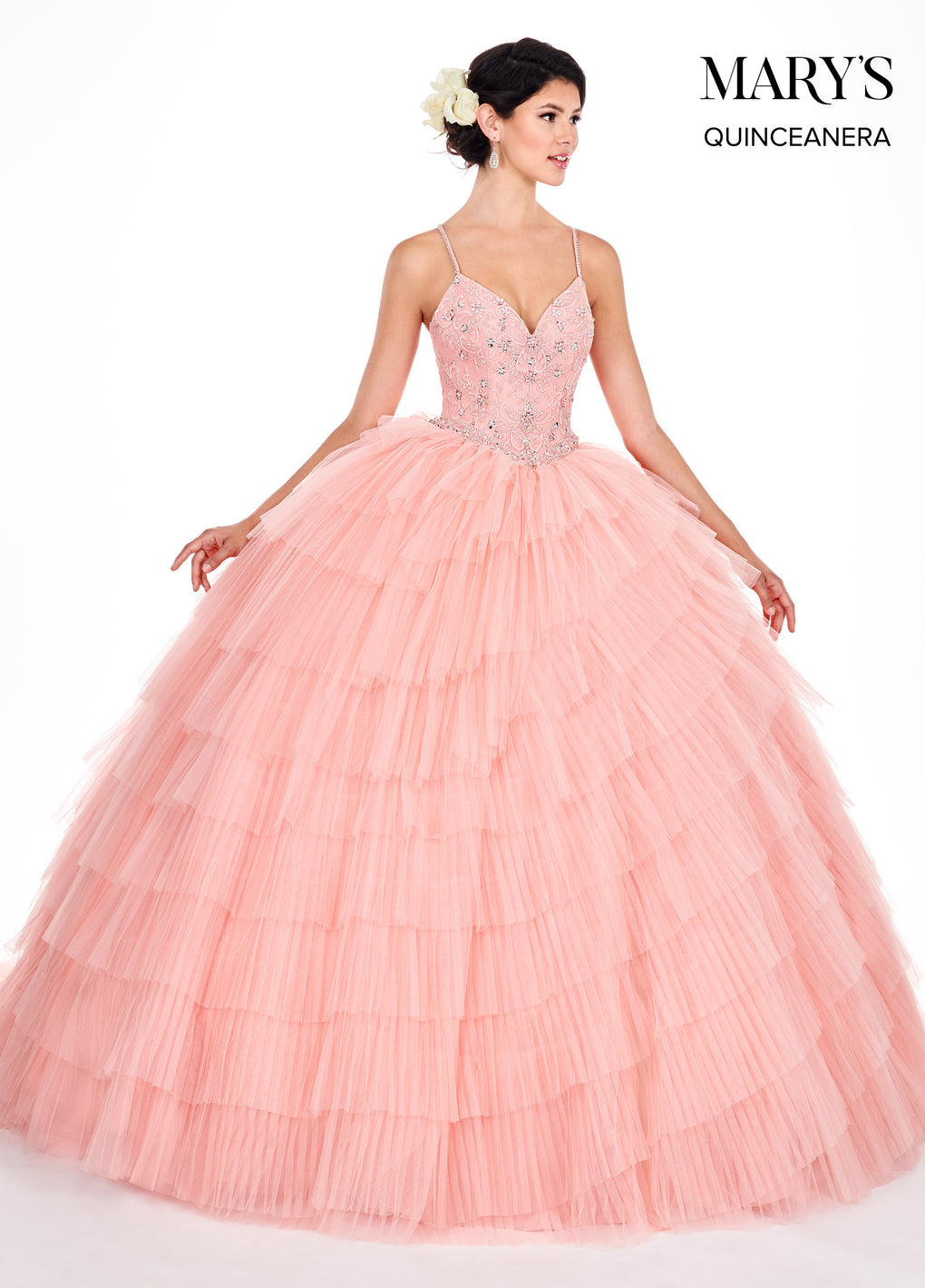 Marys Quinceanera Dresses in Rum Pink or Pacific Blue Color