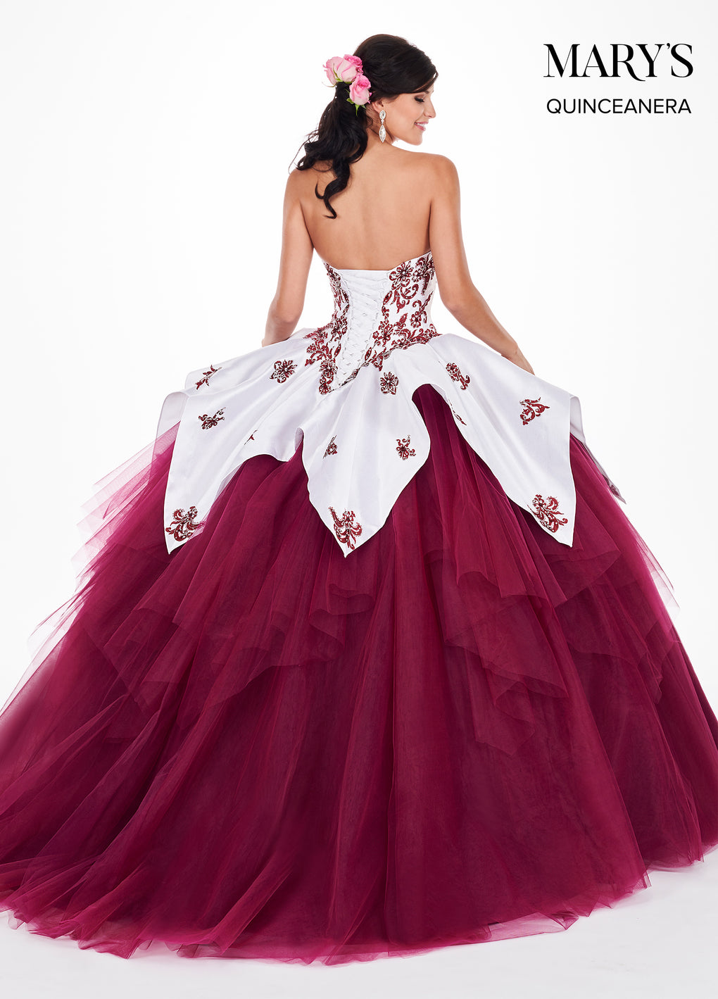 Marys Quinceanera Dresses in White/Merlot, White/Rum Pink, or White/Baby Blue Color