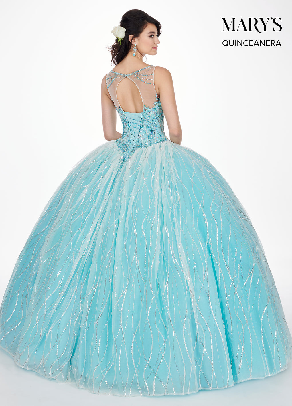 Marys Quinceanera Dresses in Ivory/Aqua or Ivory/Light Peach Color
