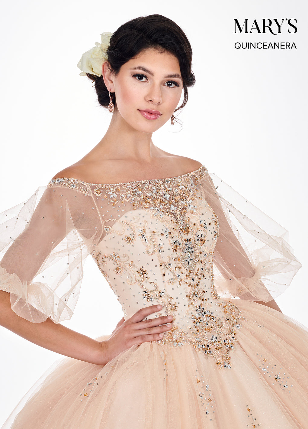 Marys Quinceanera Dresses in Dark Champagne, Soft Turquoise Color