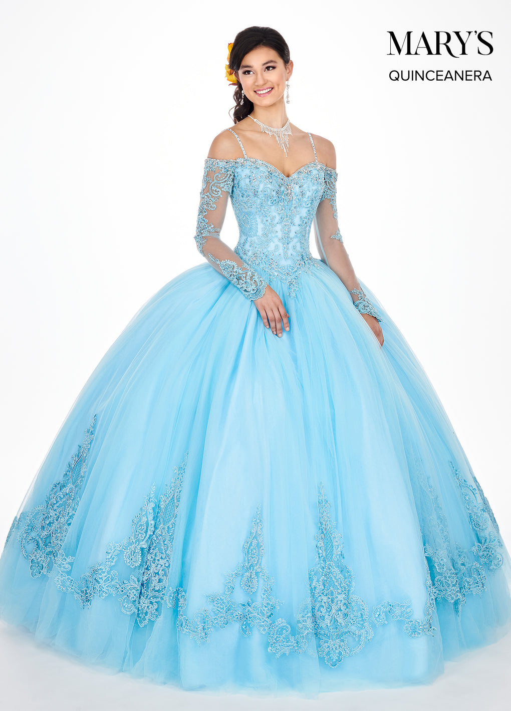 Marys Quinceanera Dresses in Baby Blue or Blush Color