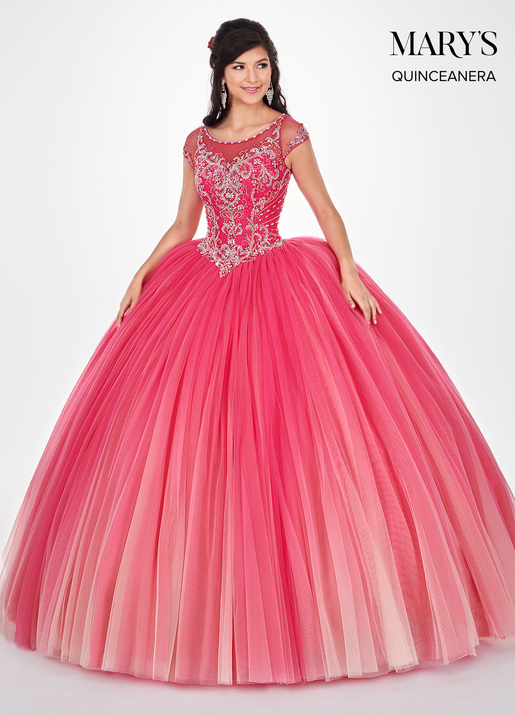 Marys Quinceanera Dresses in Royal/Turquoise Ombre or Magenta Ombre Color