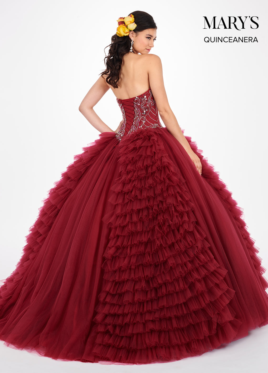 Marys Quinceanera Dresses in Burgundy or Dark Champagne Color