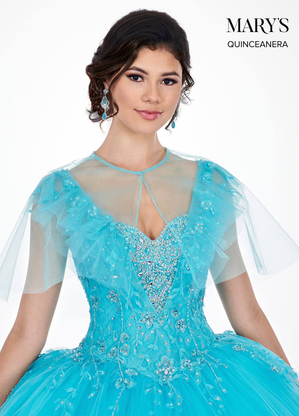 Marys Quinceanera Dresses in Soft Turquoise or Deep Blush Color