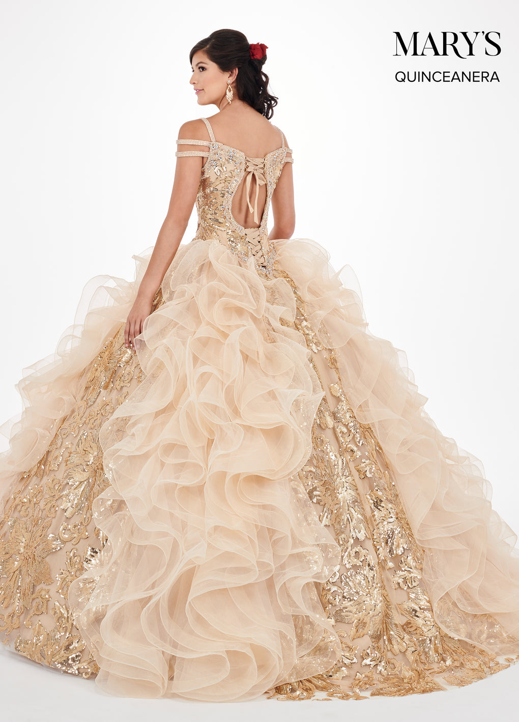 Marys Quinceanera Dresses in Gold, Red, or Silver Color