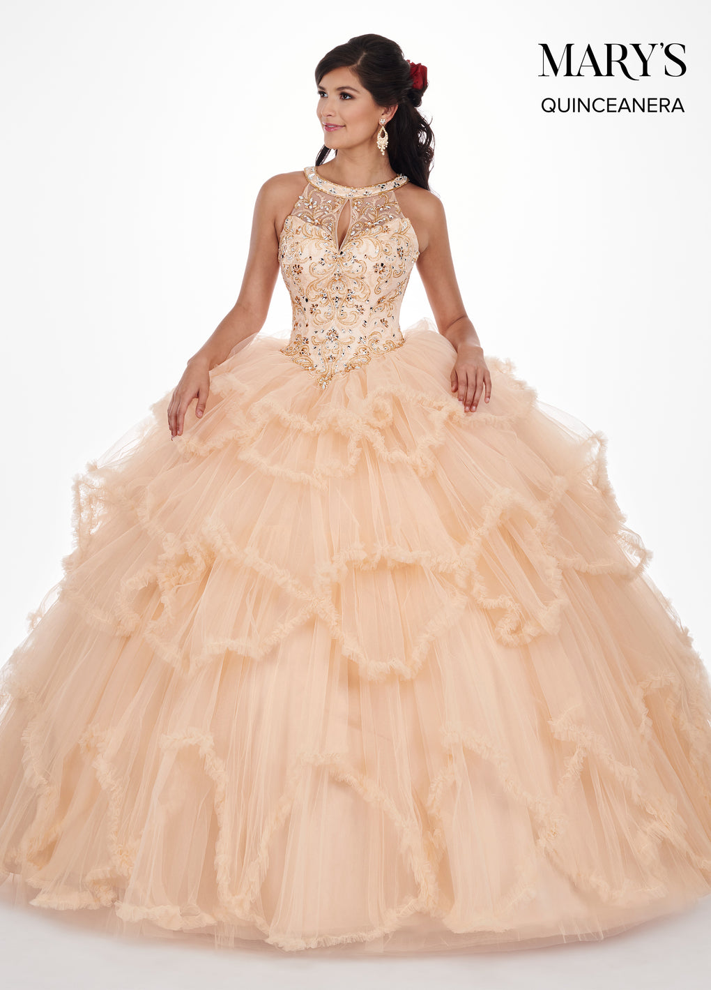Marys Quinceanera Dresses in Red or Dark Champagne Color