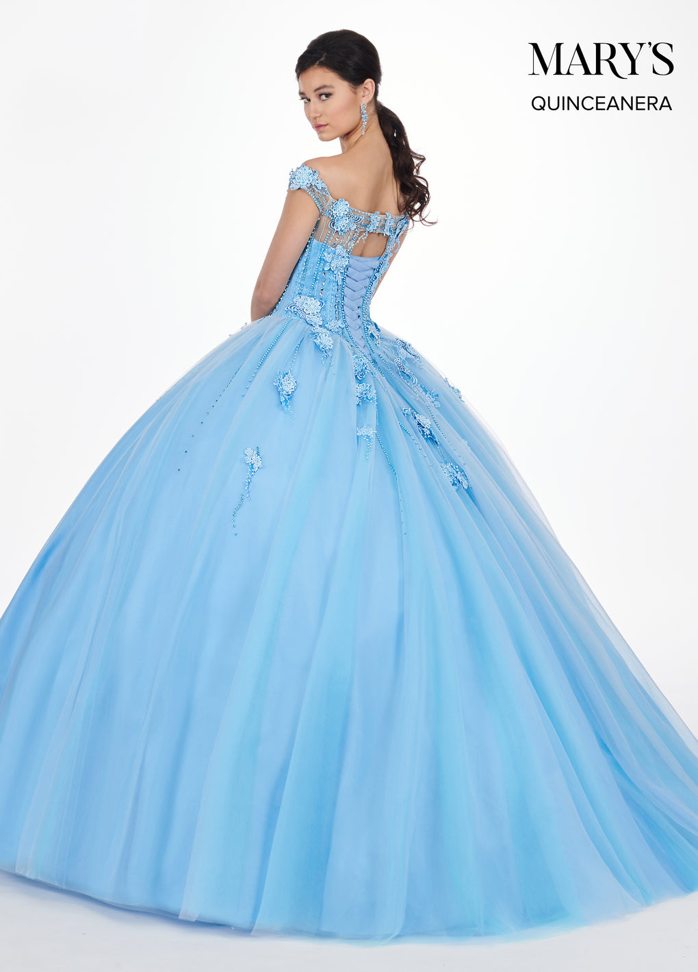 Marys Quinceanera Dresses in Glacier Blue, Lipstick, or White Color