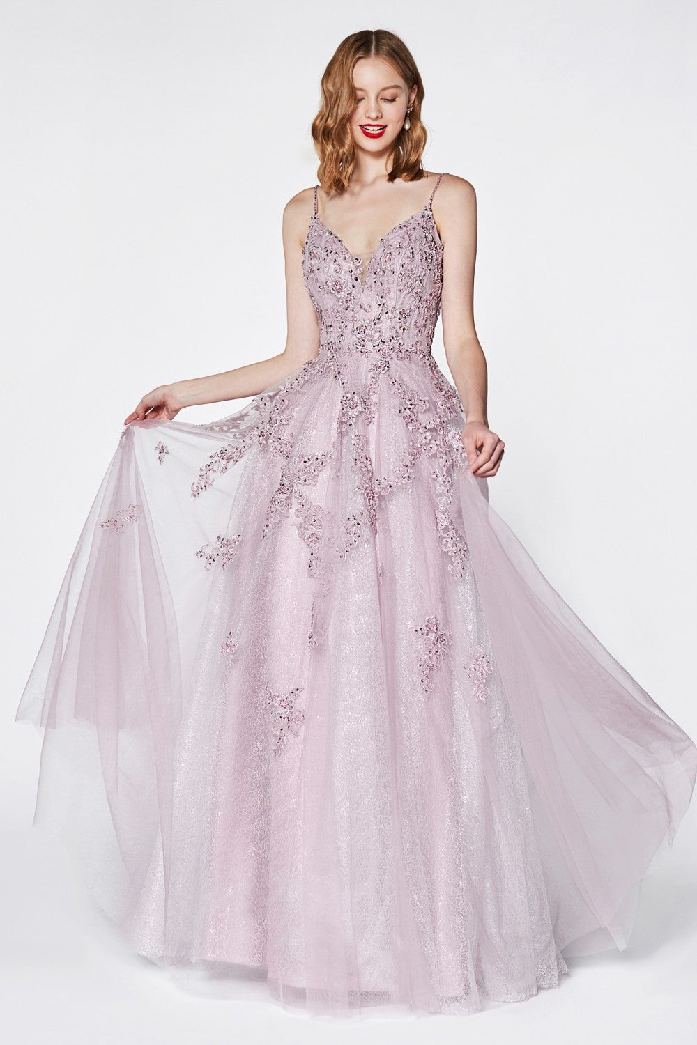 Beaded Flowy A-Line Tulle And Lace Dress With V-Neckline And Open Back