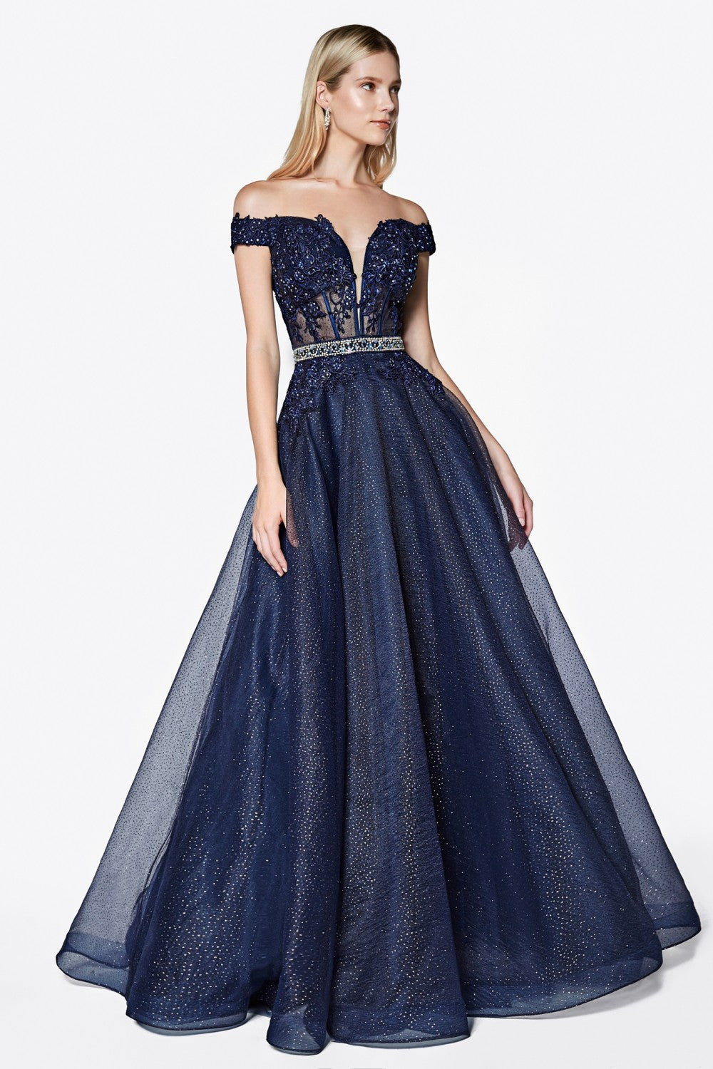 Off The Shoulder Ball Gown With Beaded Belt And Glittered Lace Details