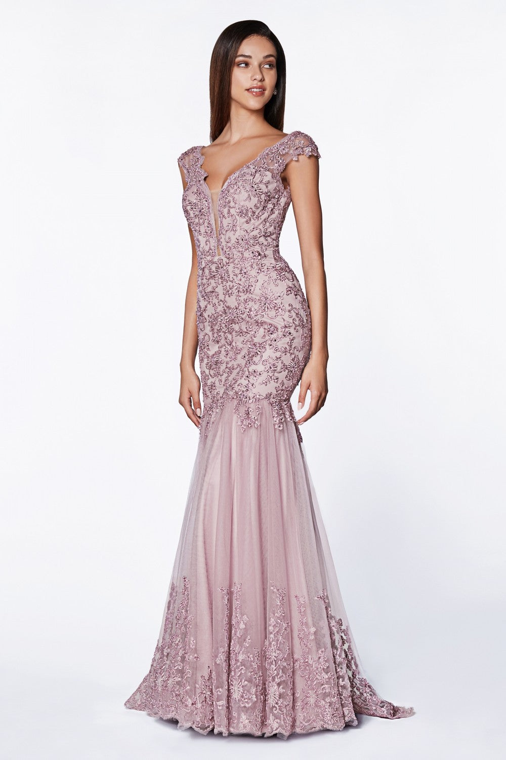 Mermiad Lace Fitted Gown With Cap Sleeves And Open Scoop Back