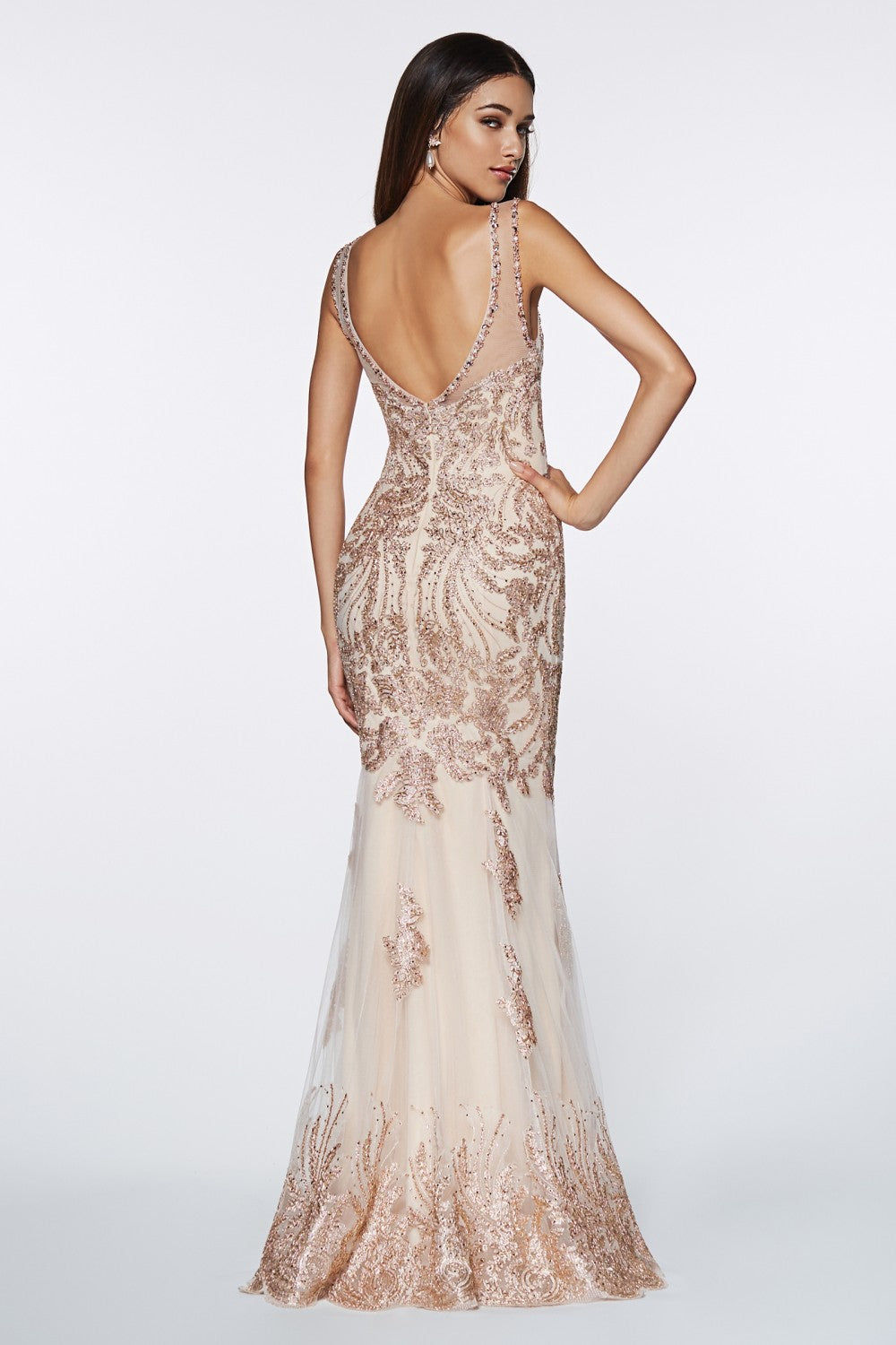 Fitted Embellished Lace Gown With Illusion Beaded Straps, V-Neckline And Open Back