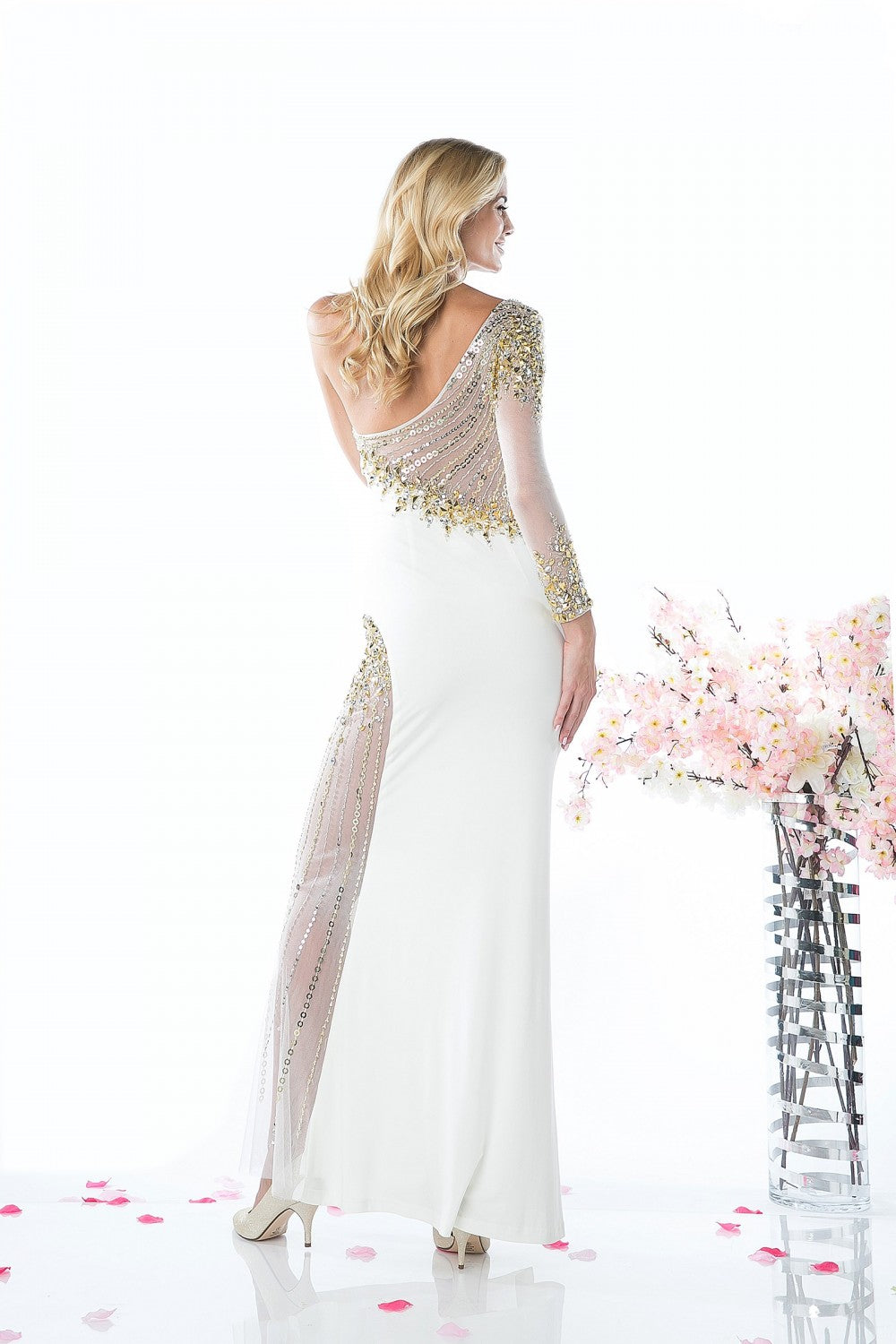 Beaded Stretch Knit Sheath Gown
