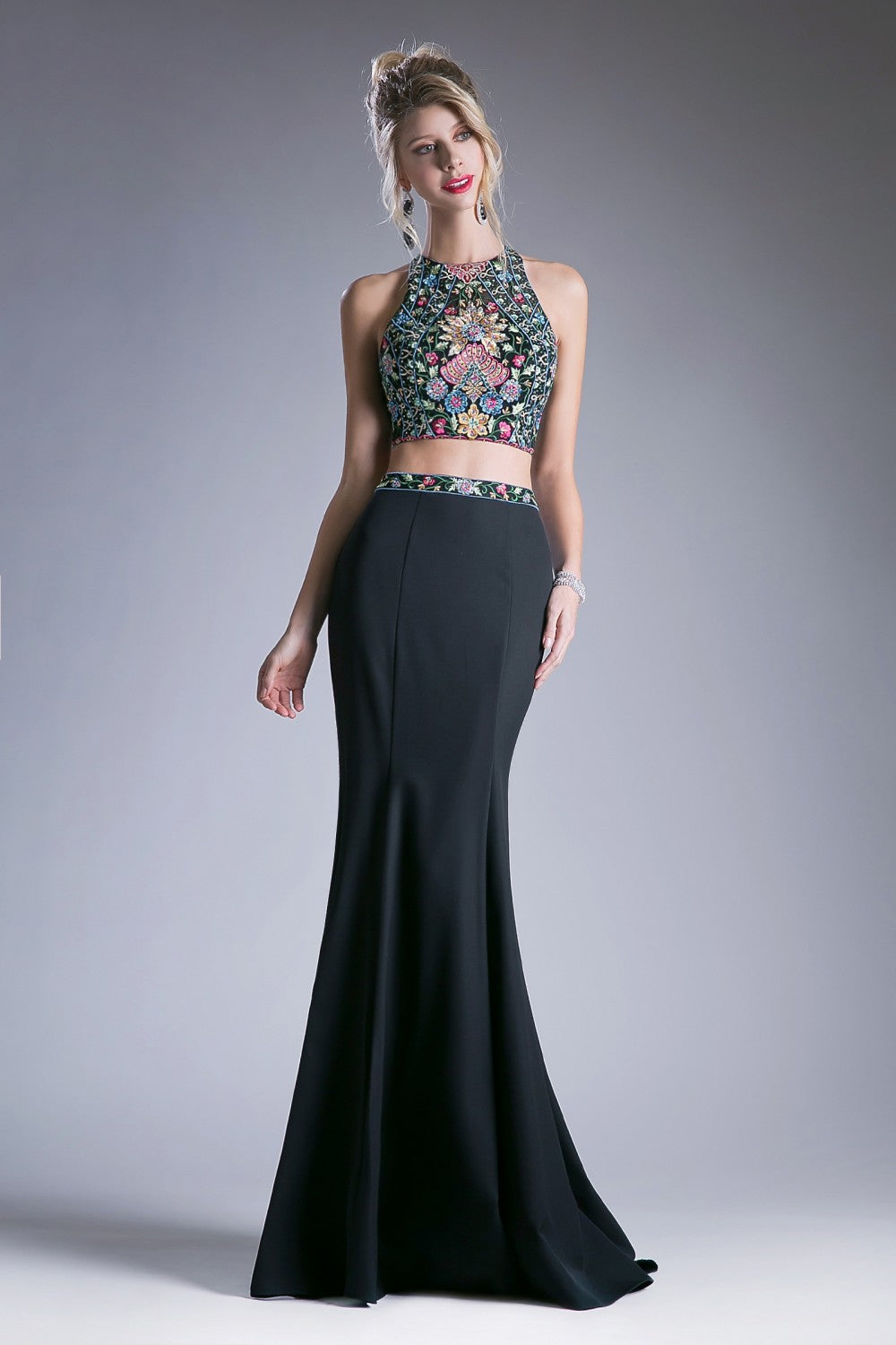Two Piece Floral Embroidered Gown With Beading Detail And Keyhole Back