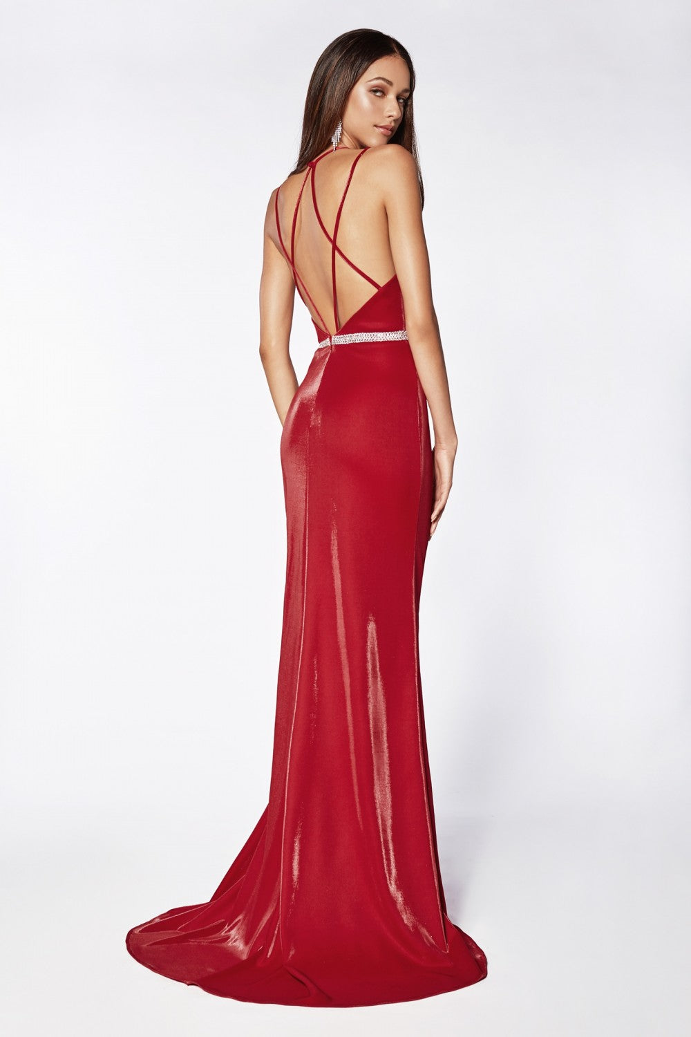 Fitted Deep Plunging Neckline Gown With Beaded Belt And Leg Slit