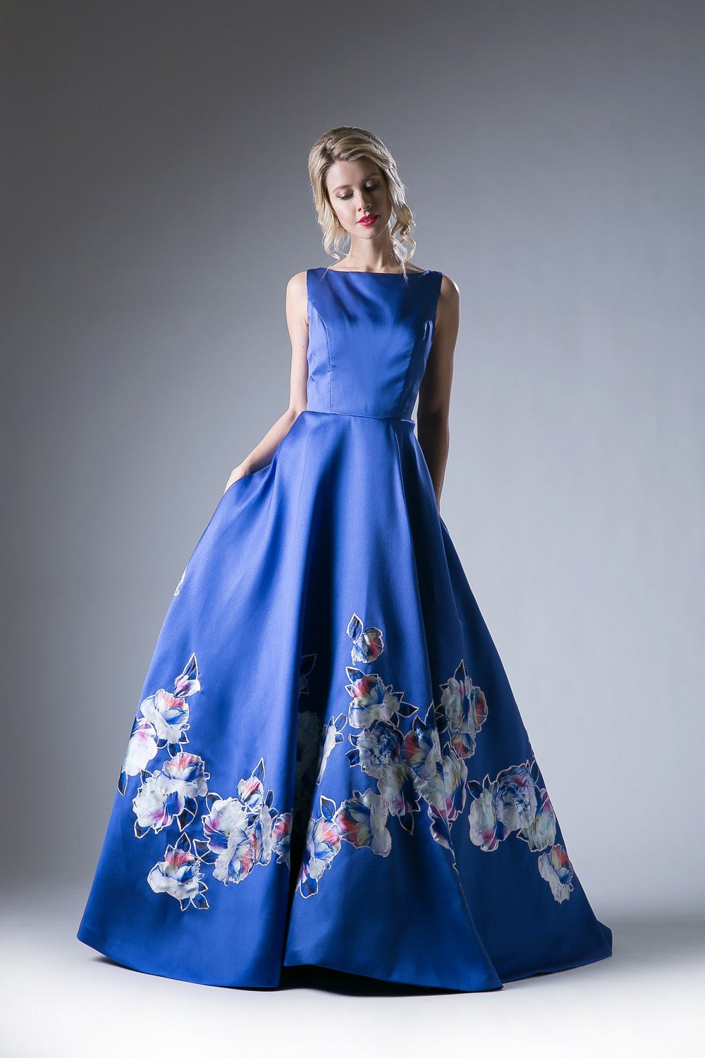 Satin Floral Ball Gown