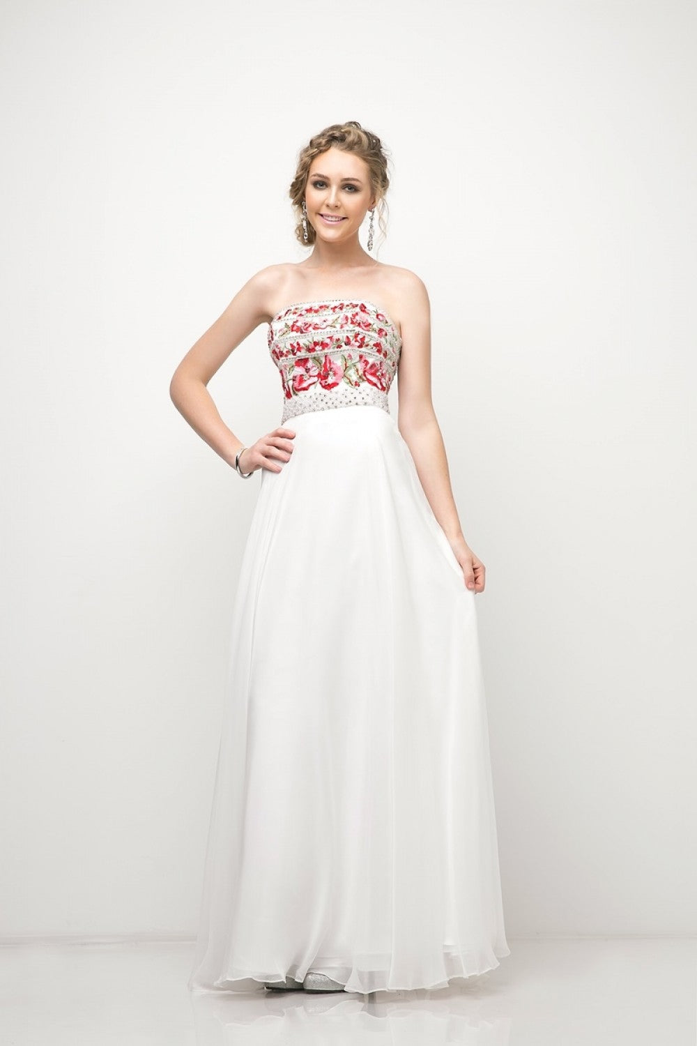 Strapless A-Line Floral Gown With Beaded Details And Chiffon Skirt