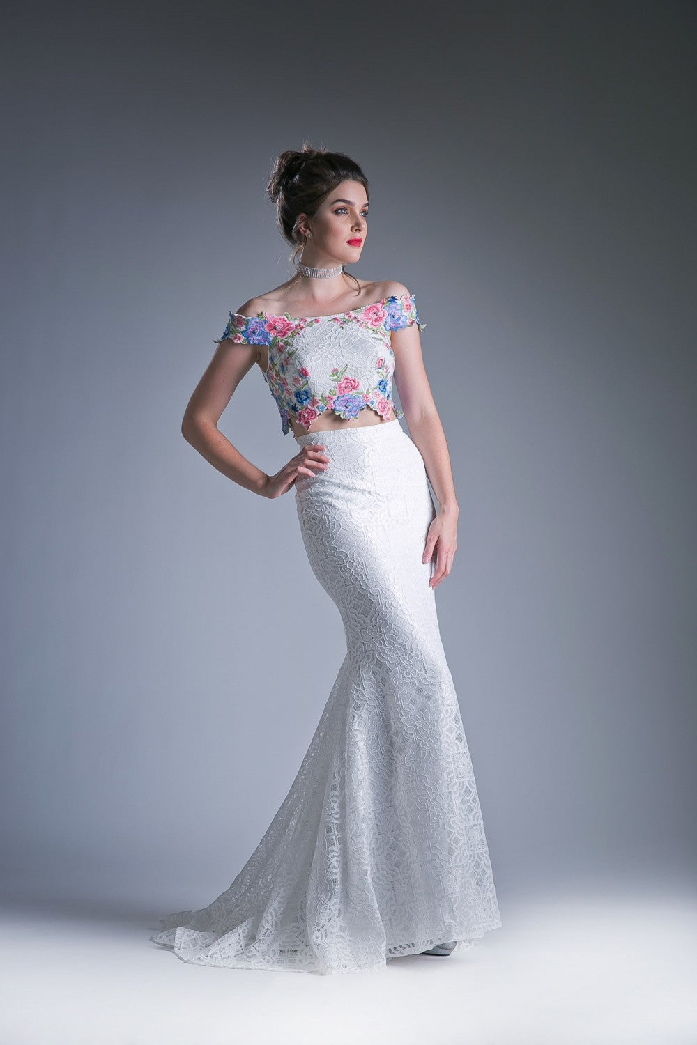 Two Piece Off The Shoulder Fitted Dress With Embroidered Floral Appliques And Lace Detailed Skirt