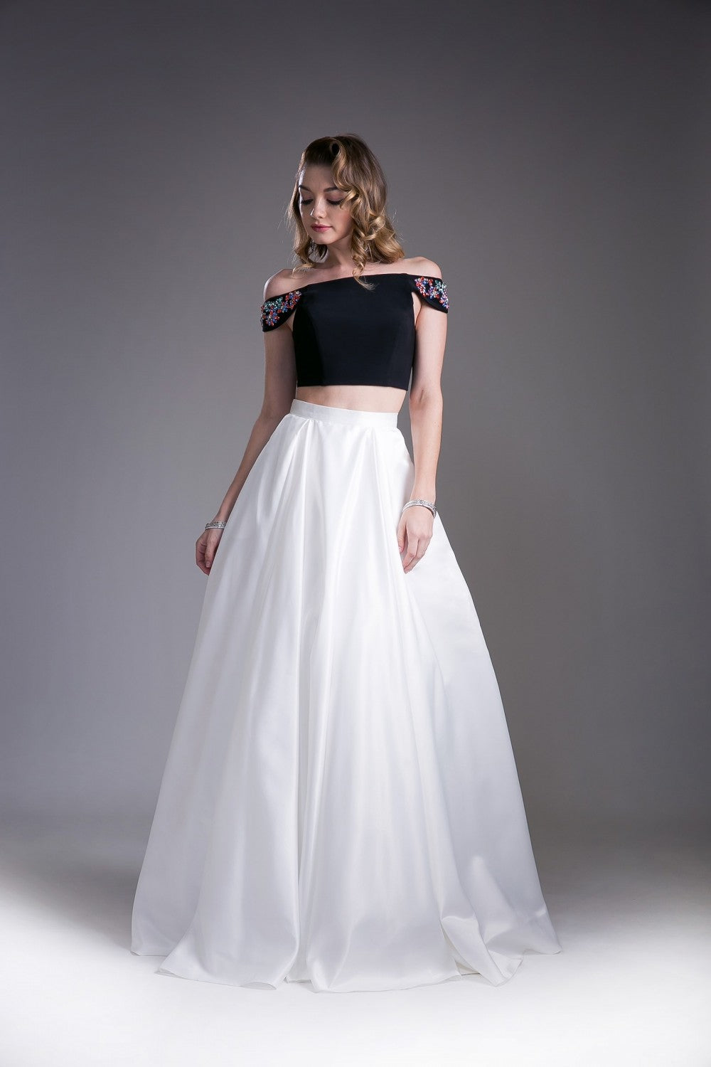 Off The Shoulder Two Piece Gown With Floral Detailed Sleeve And Mikado Skirt