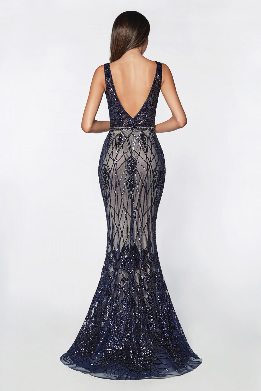 Fitted Geometric Sequin Gown With Bateau Neckline And Open Back