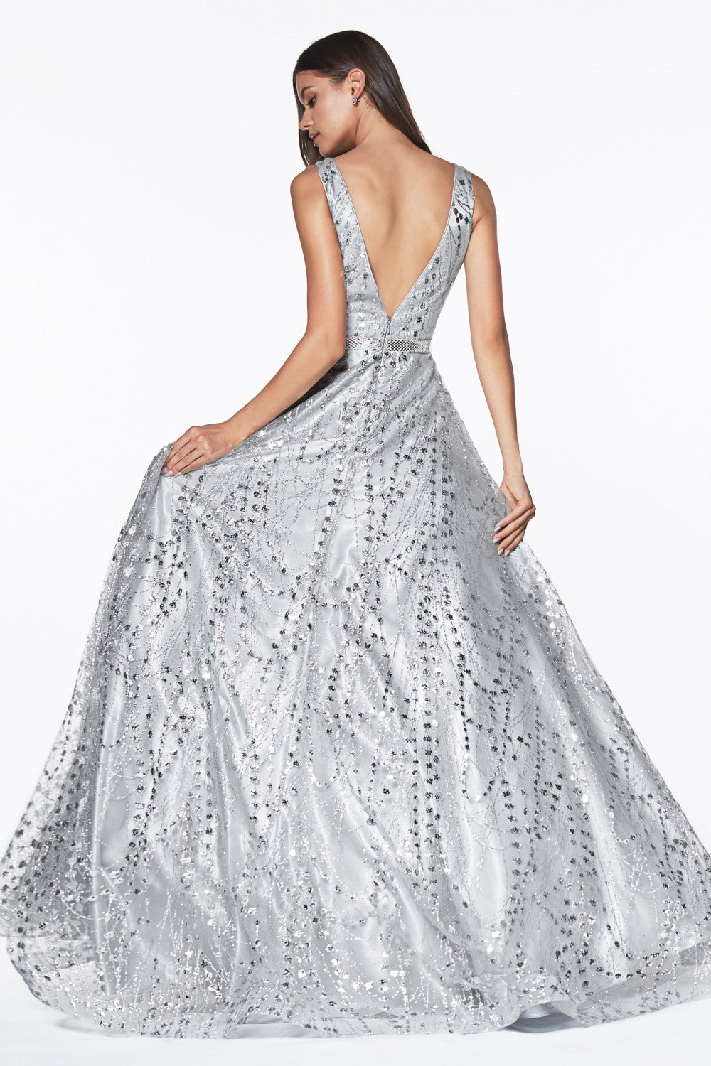 Glitter Detailed Ball Gown With Deep Plunge And Open Back