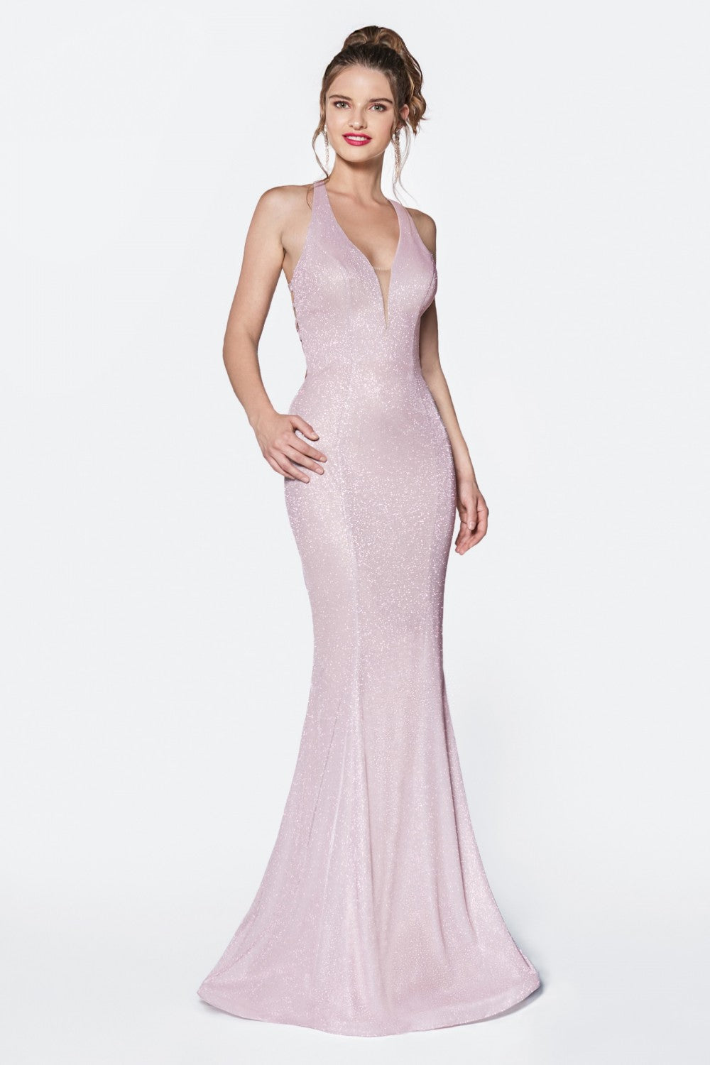 Fitted Glittered Gown With Deep Plunge Neckline And Criss Cross Back