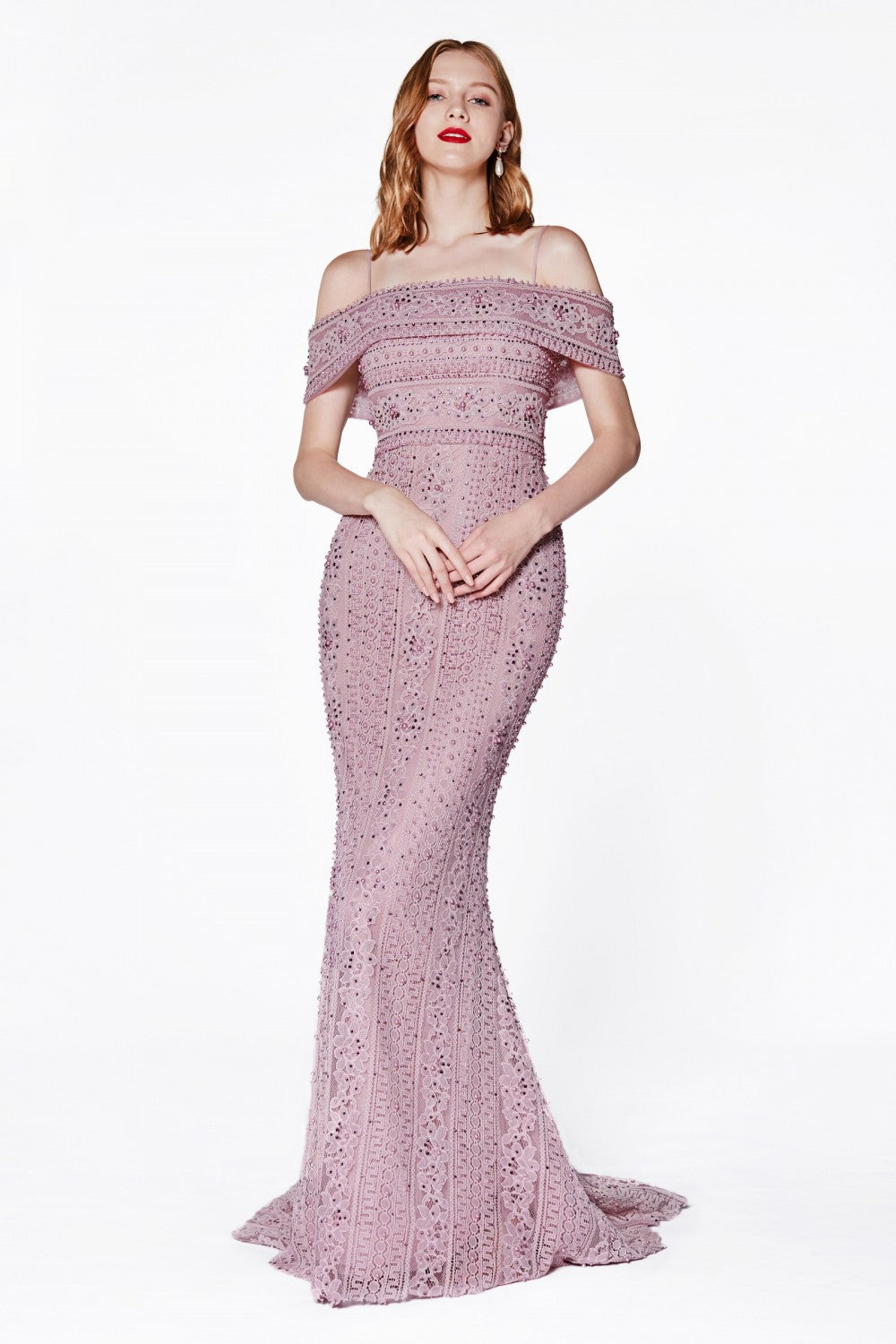 LOff The Shoulder Fitted Gown With Boho Lace And Beaded Embellishment