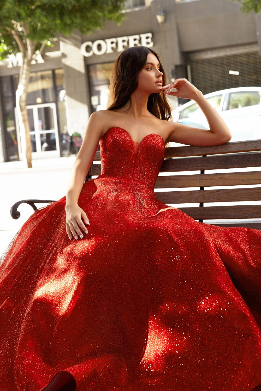 Strapless Ball Gown With Glitter Swirl Detail And Corset Lace Up Back