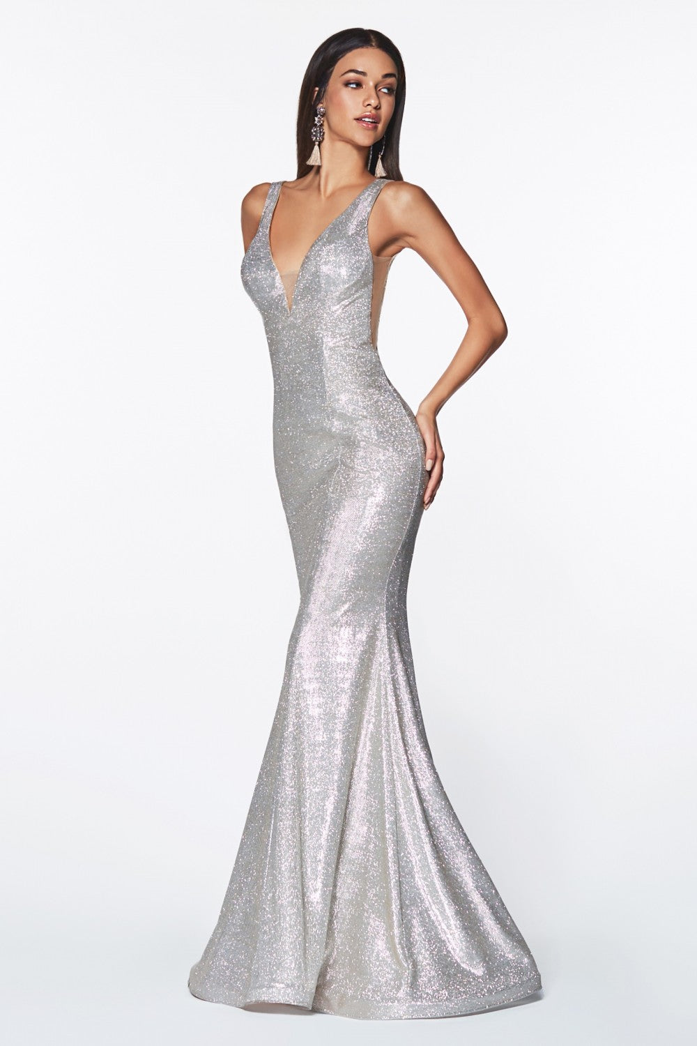 Fitted Sparkle Gown With Illusion Sides And Open Back