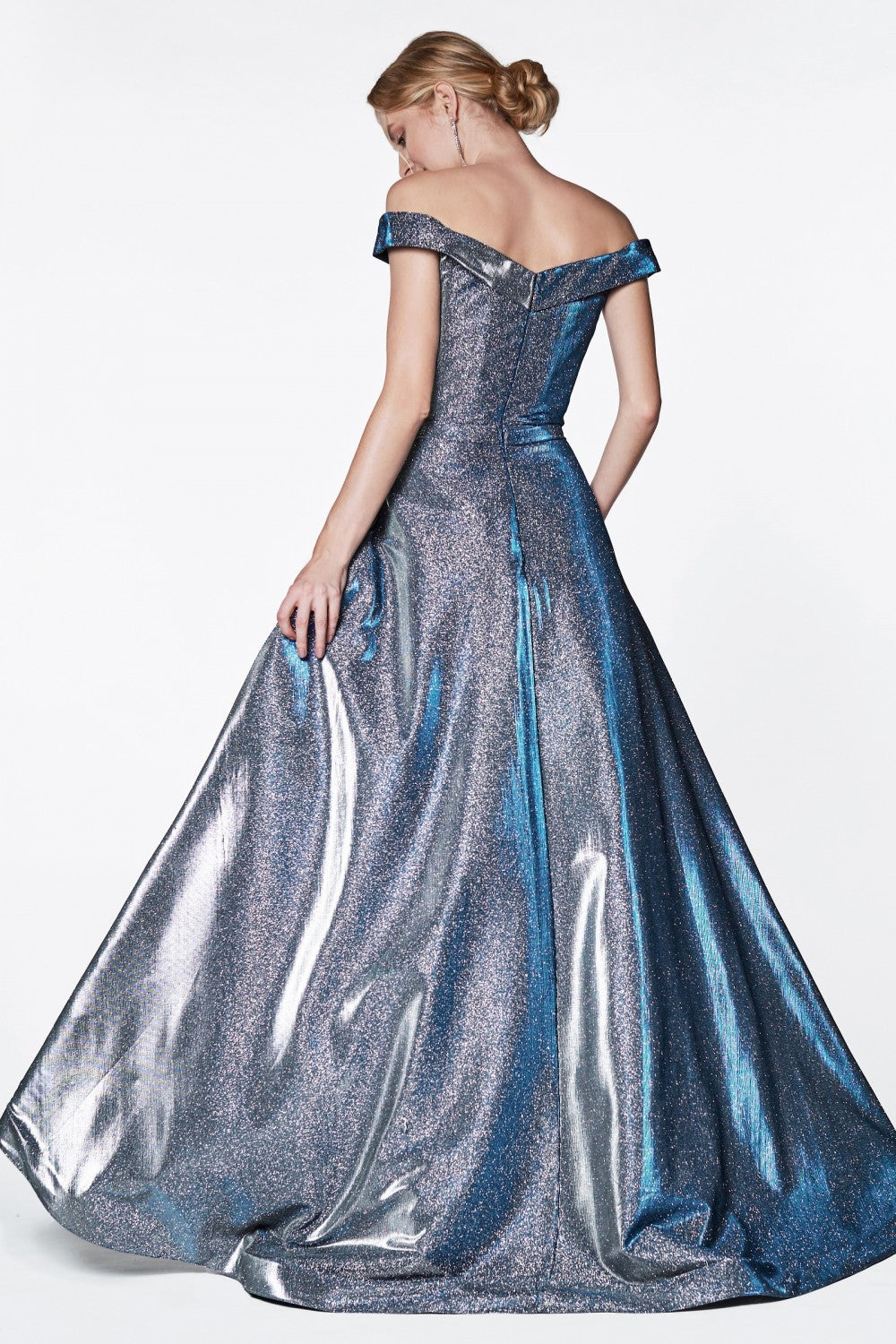 Off The Shoulder Ball Gown With Glitter Effect And Pockets