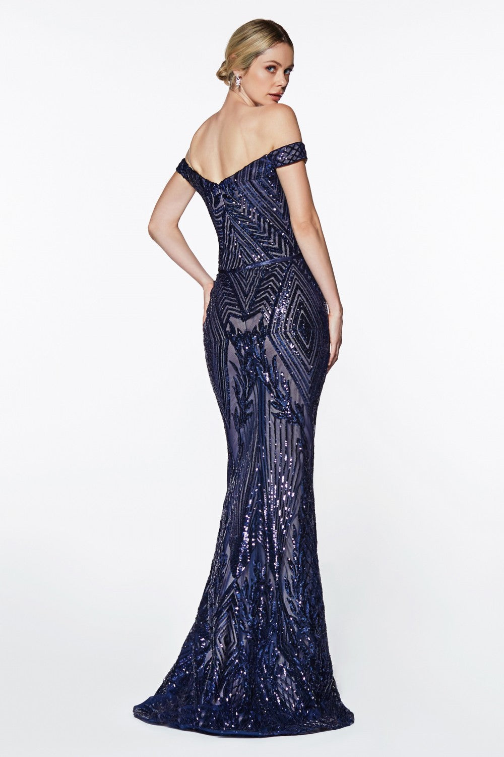Off The Shoulder Gown With Geometric Sequin Detail And Sweetheart Neckline