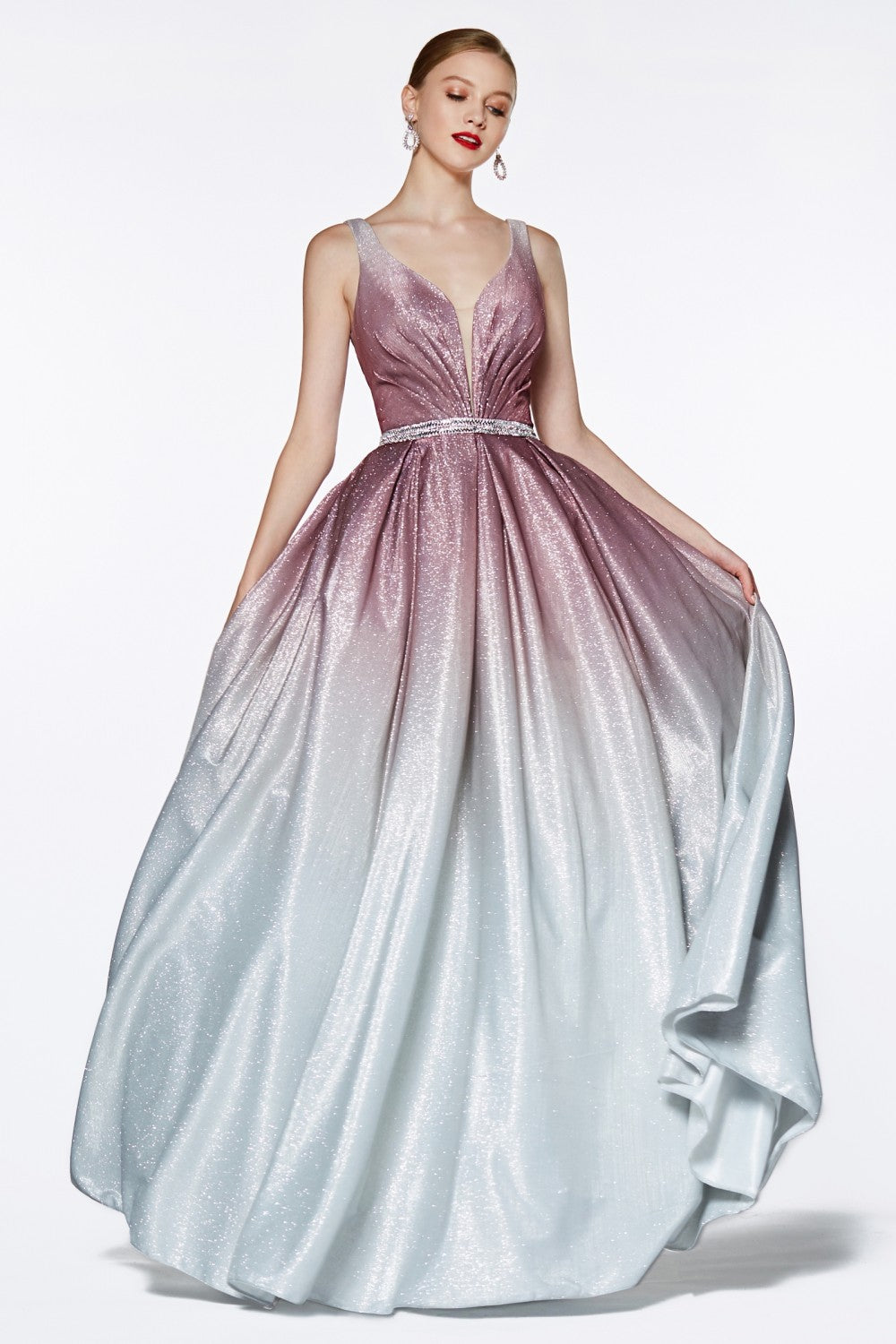 Ombre Glitter Ball Gown With Deep Plunge Neckline And Beaded Belt