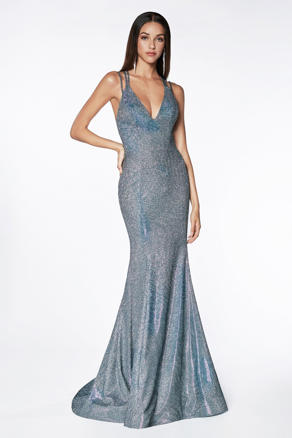 Fitted Gown With Criss Cross Open Back And Metallic Glitter Fabric