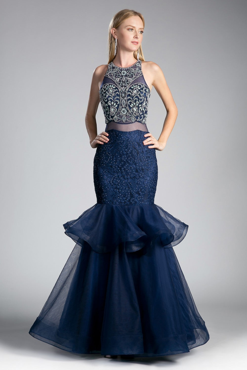 Fitted Mermaid Gown With Beaded Bodice And Tulle Lace Skirt