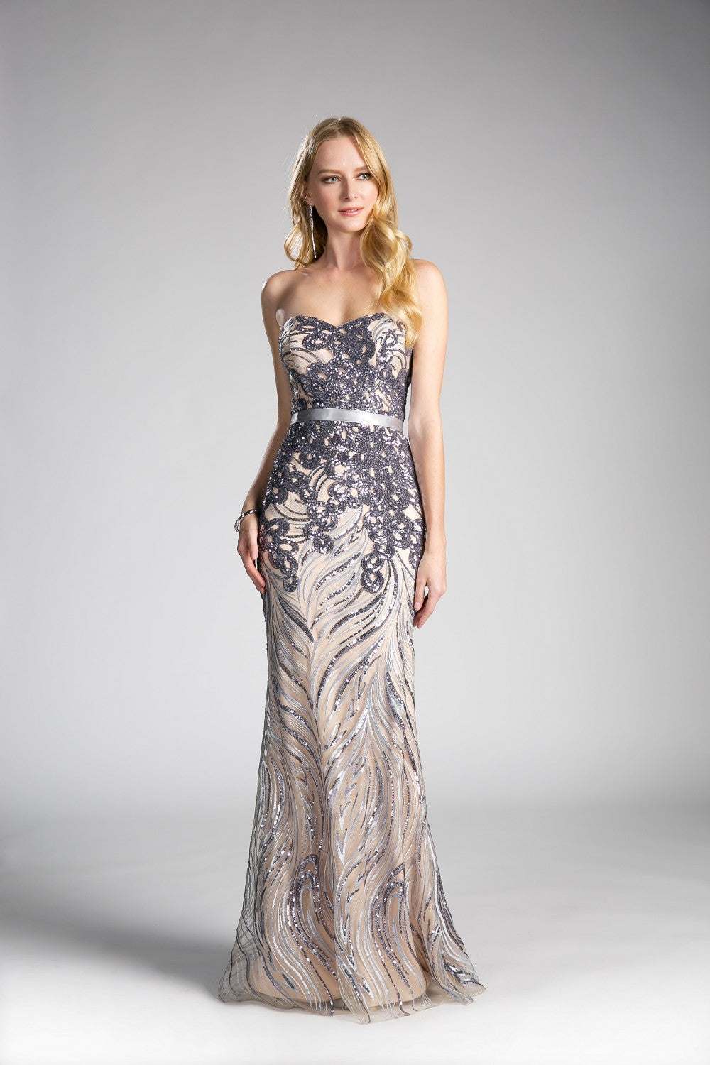 Strapless Fitted Dress With Sequin Beaded Details And Satin Belt
