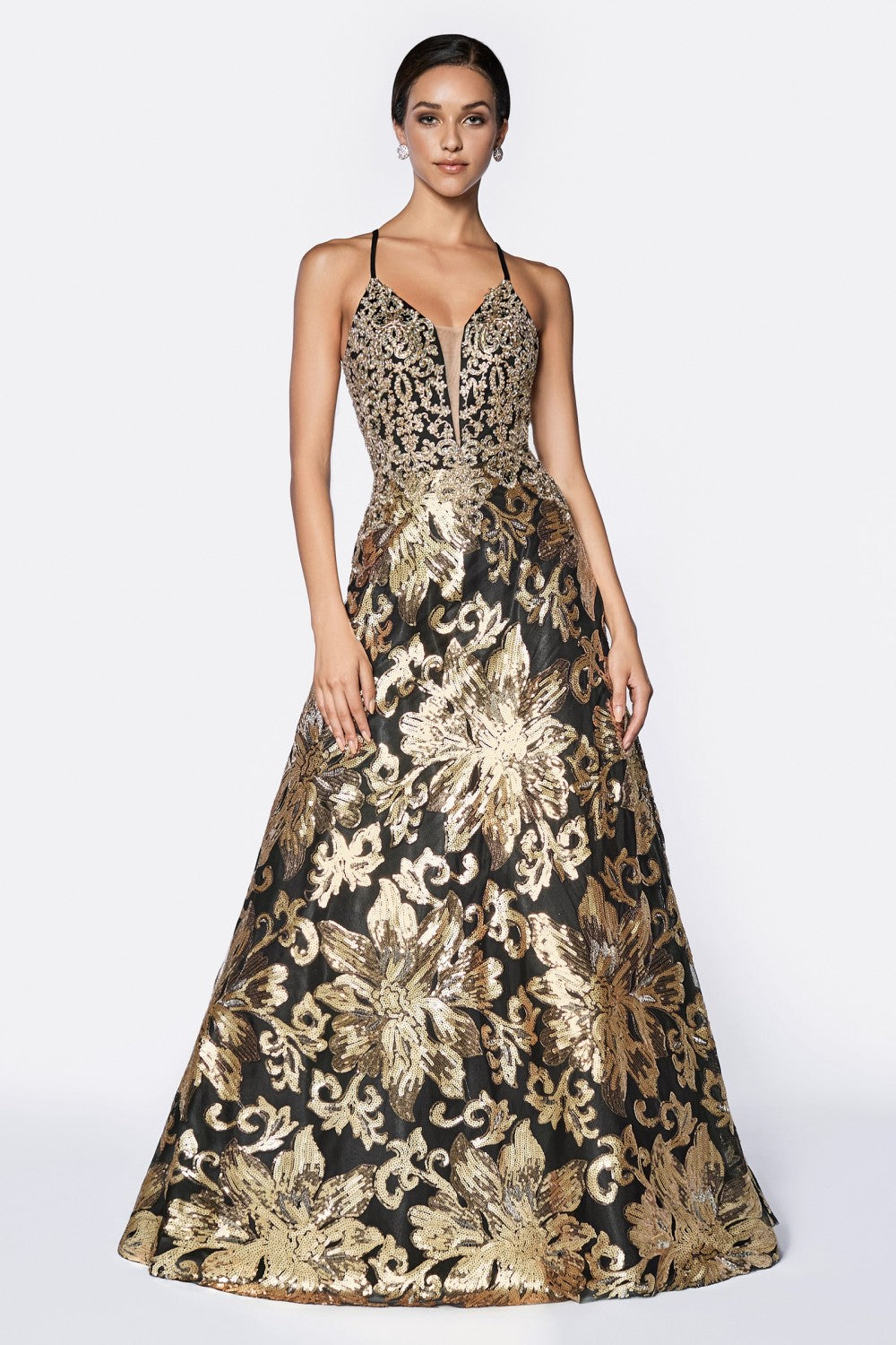 A-Line Sequin Ballgown With Deep Plunge Neckline And Criss Cross Back