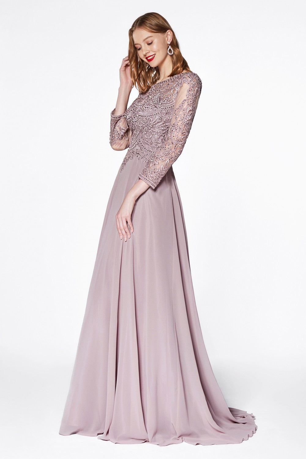Flowy A-Line Chiffon Three-Quarter Sleeve Gown With Closed Back And Lace Detailed Bodice
