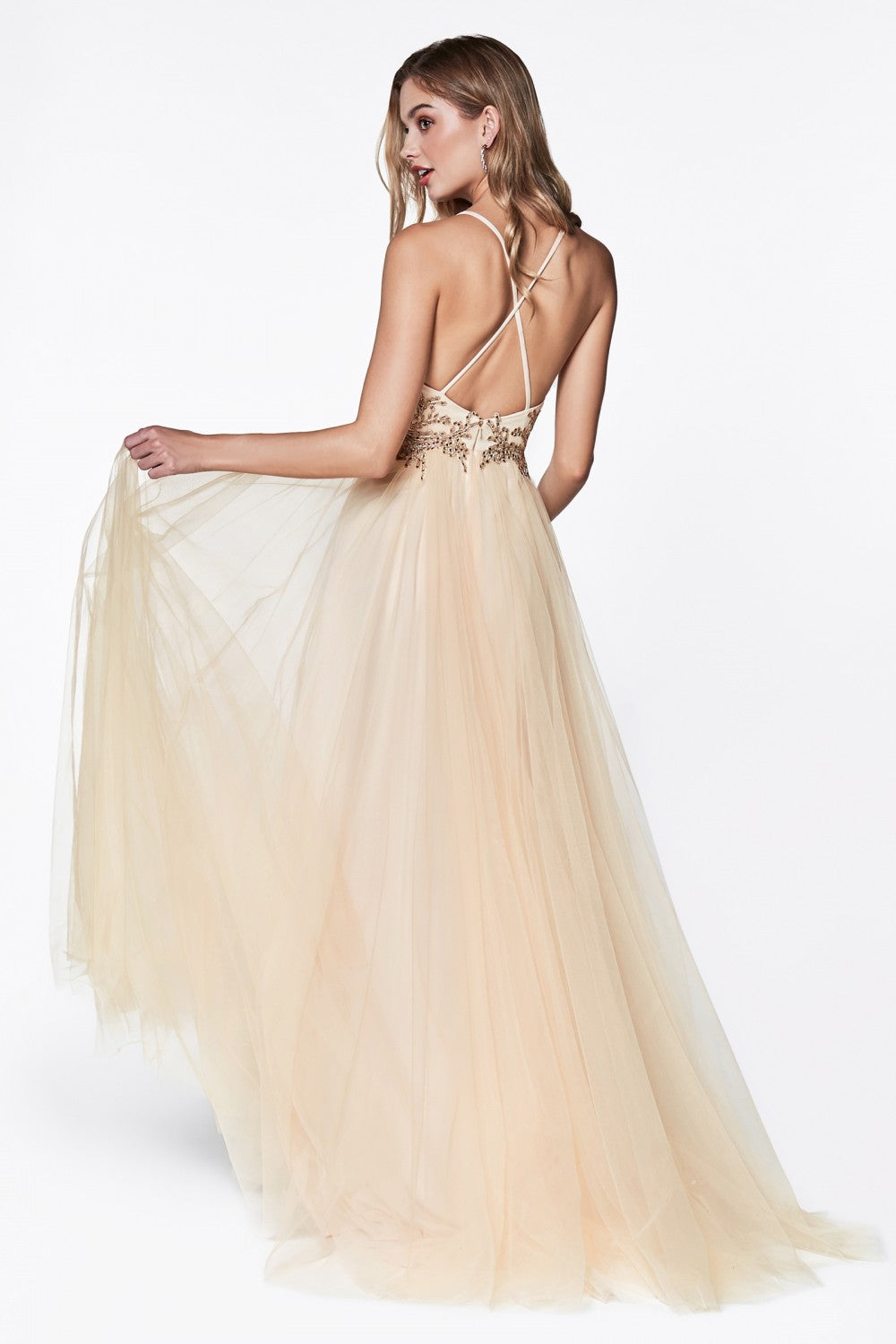 Flowy A-Line Tulle Dress With Lace Bodice Detail And Criss Cross Back
